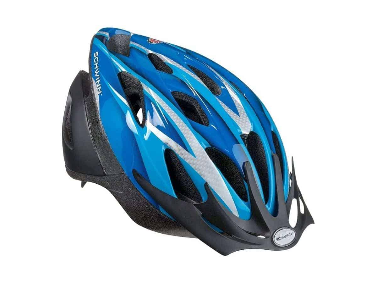 Blue Schwinn Thrasher bike helmet.