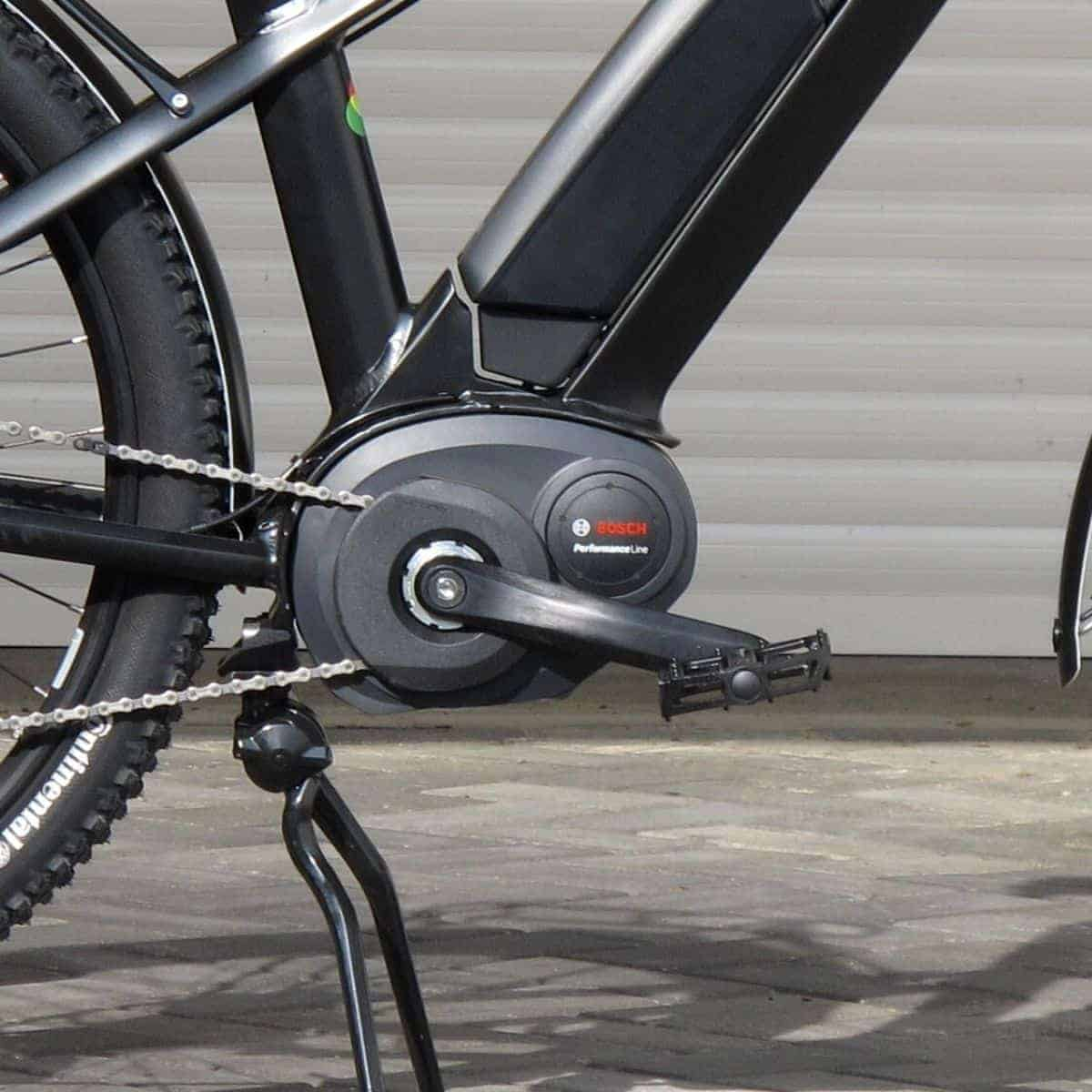 Close-up of a Bosch motor on an electric bike.
