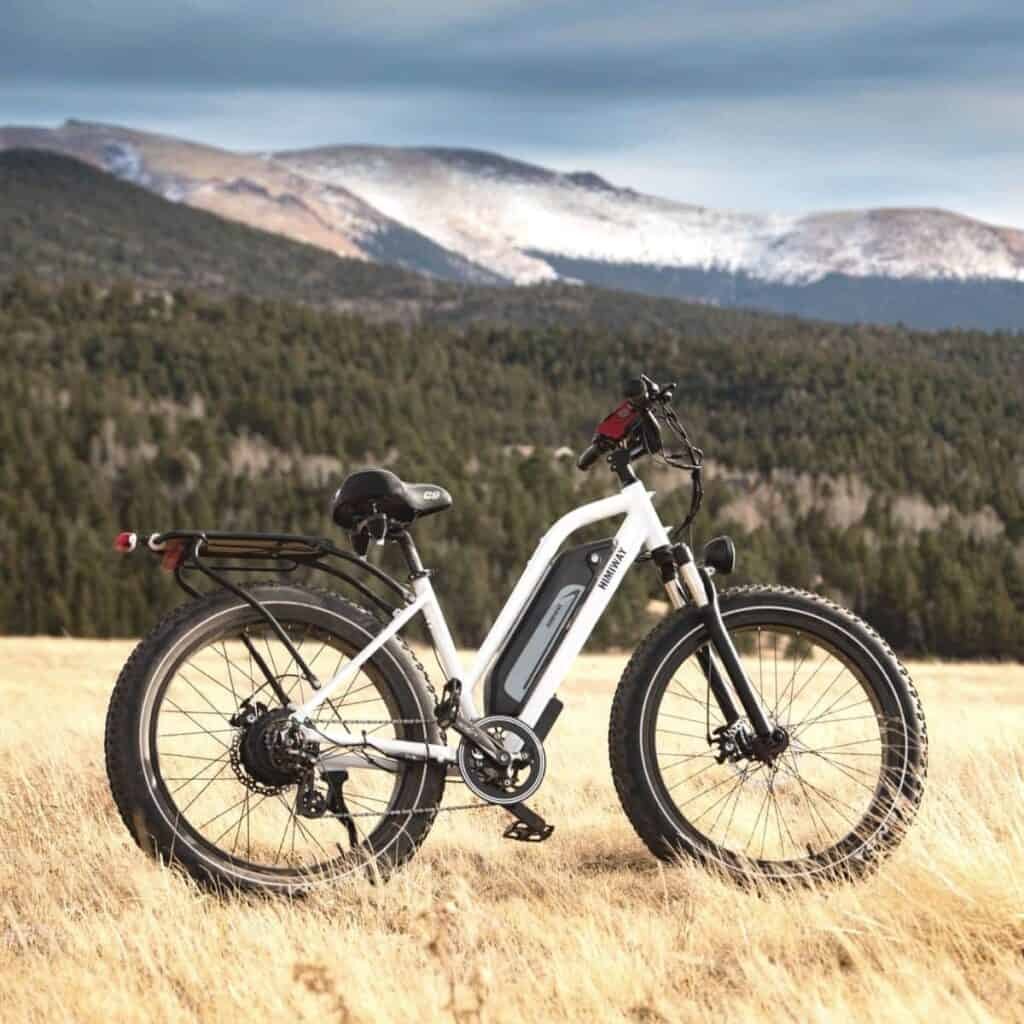 Electric bike on grass with mountains in the background.