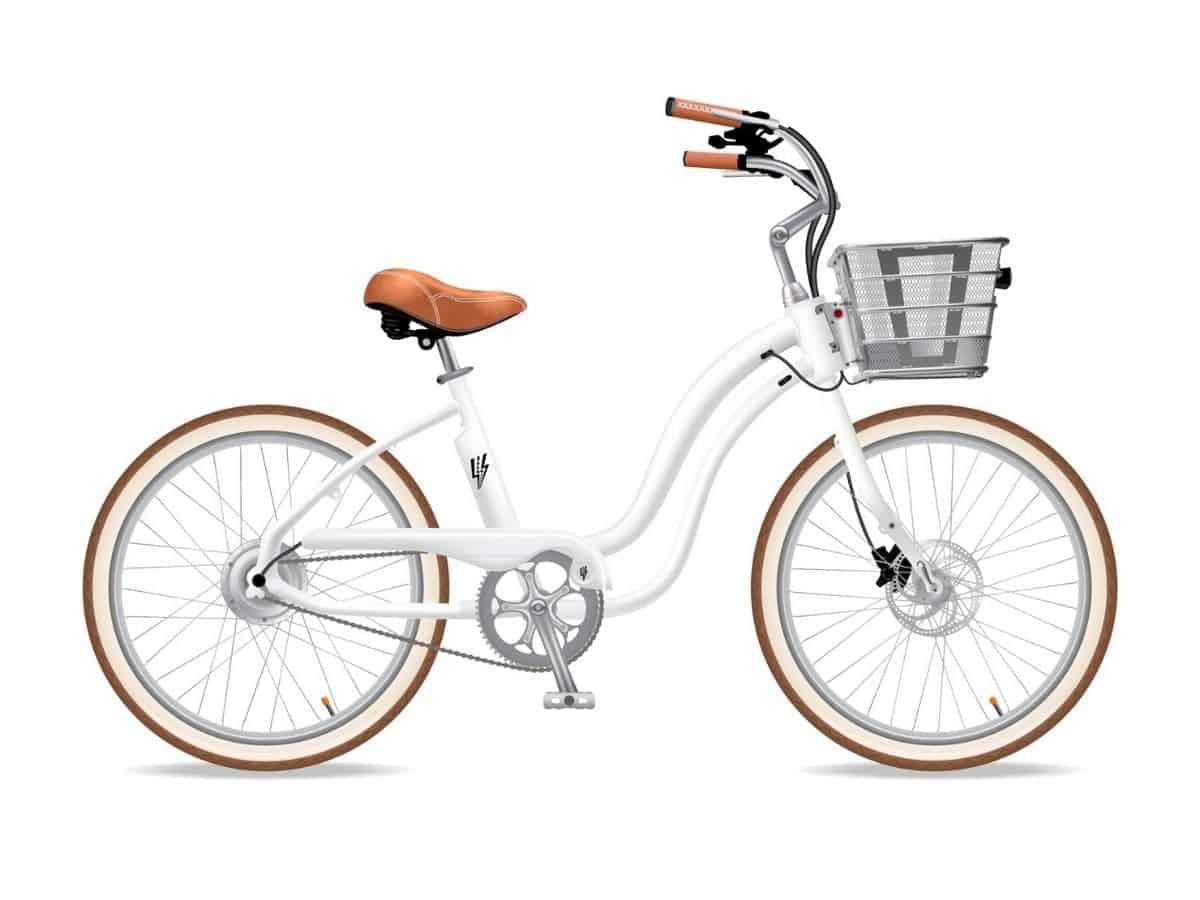 Electric Bike Company Model Y with a basket.