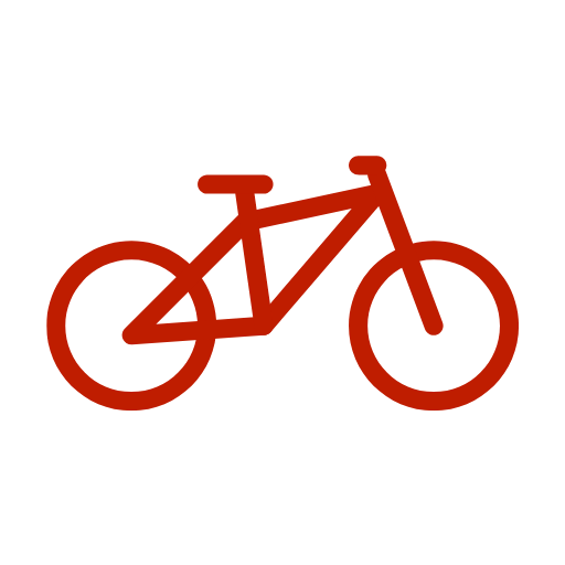 Outline of a bicycle.