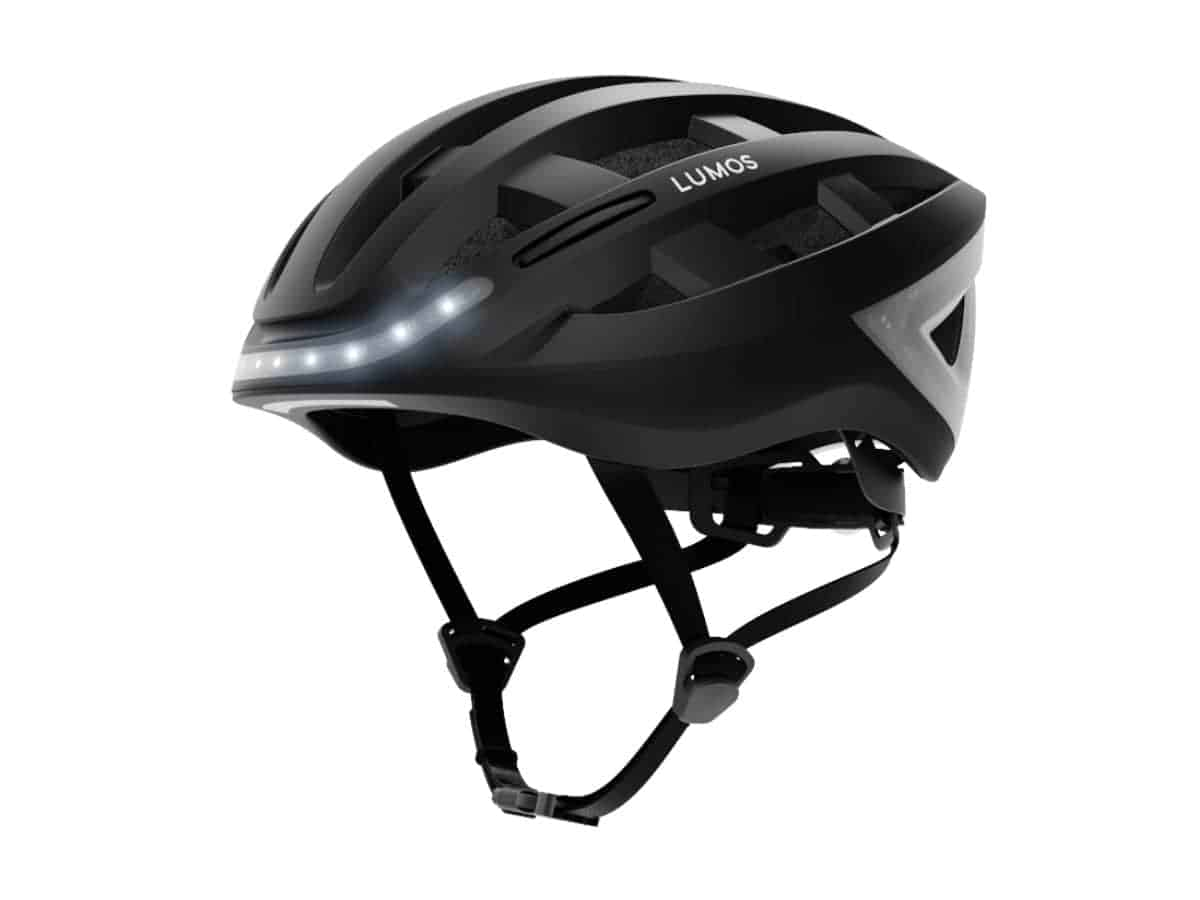 Lumos Kickstart bike helmet with light bar on the front.