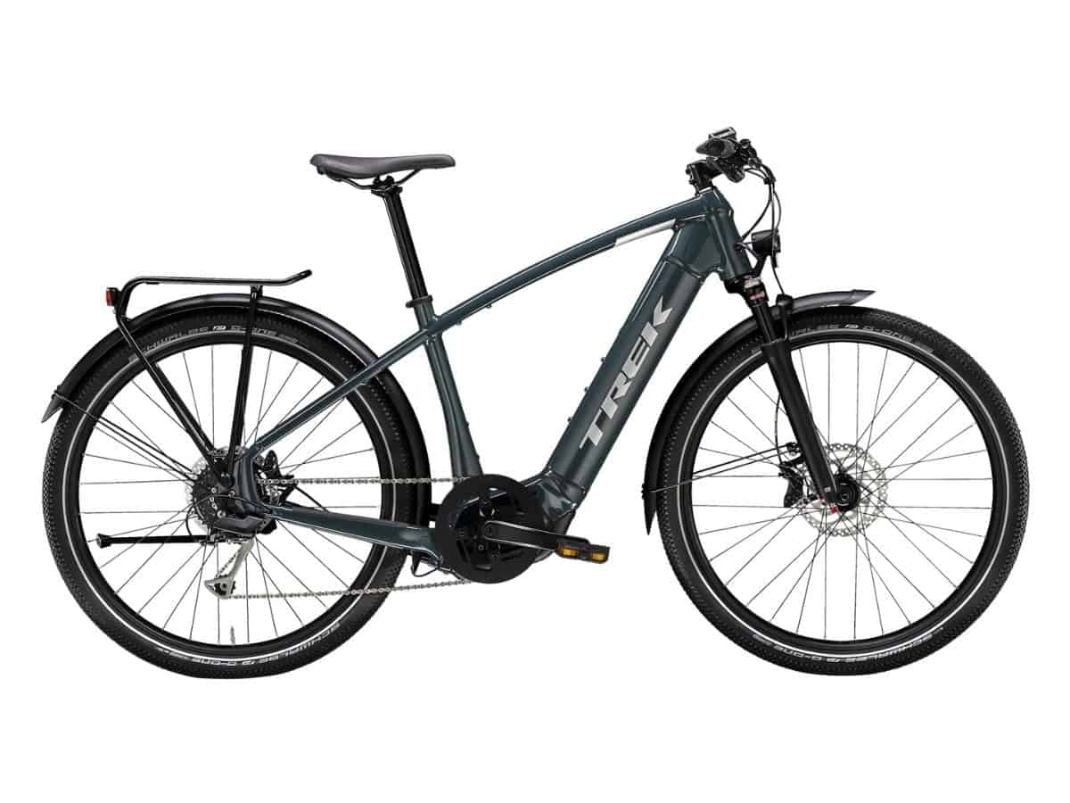 Navy blue Trek electric bike.