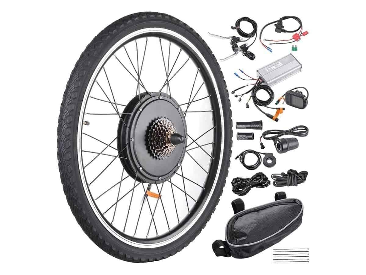 AW rear wheel electric bike conversion kit pieces.