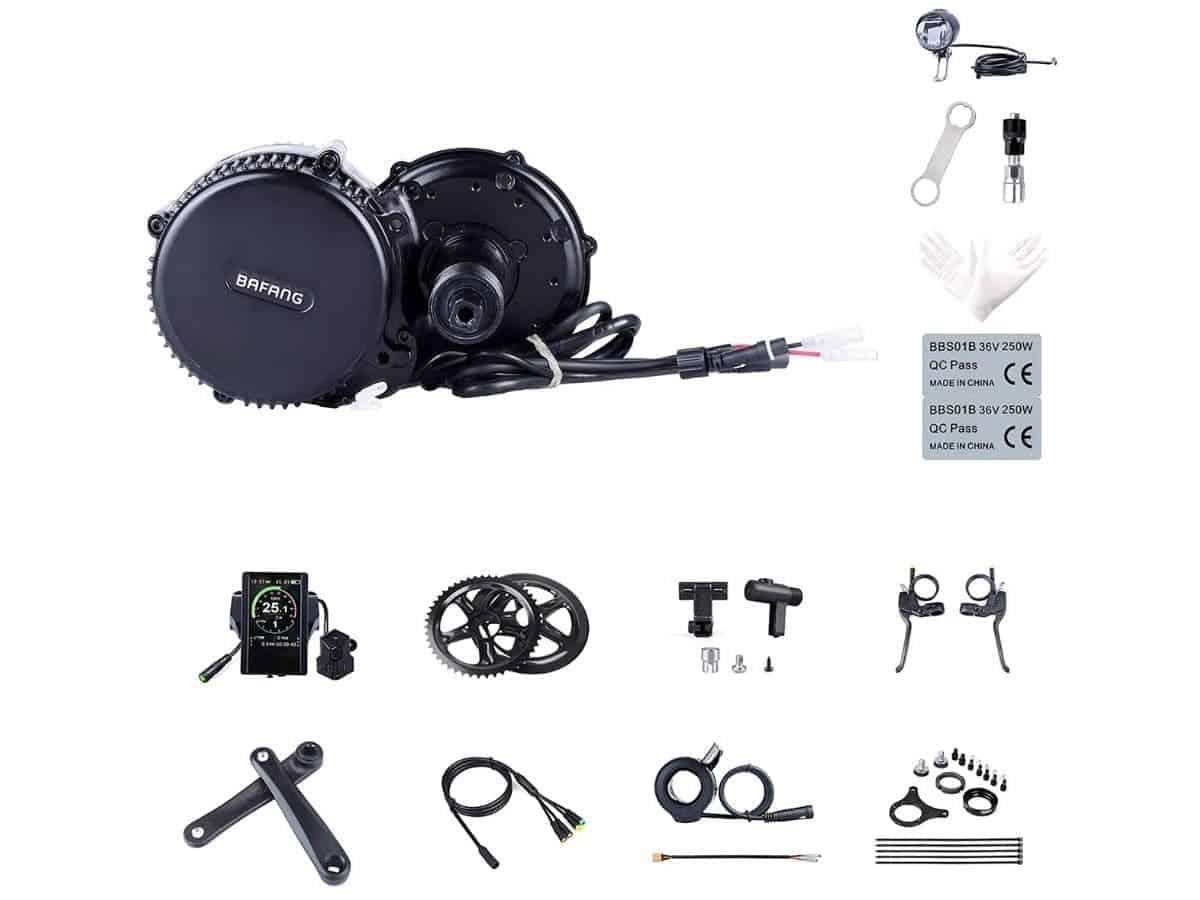 Bafang electric bike conversion kit pieces.