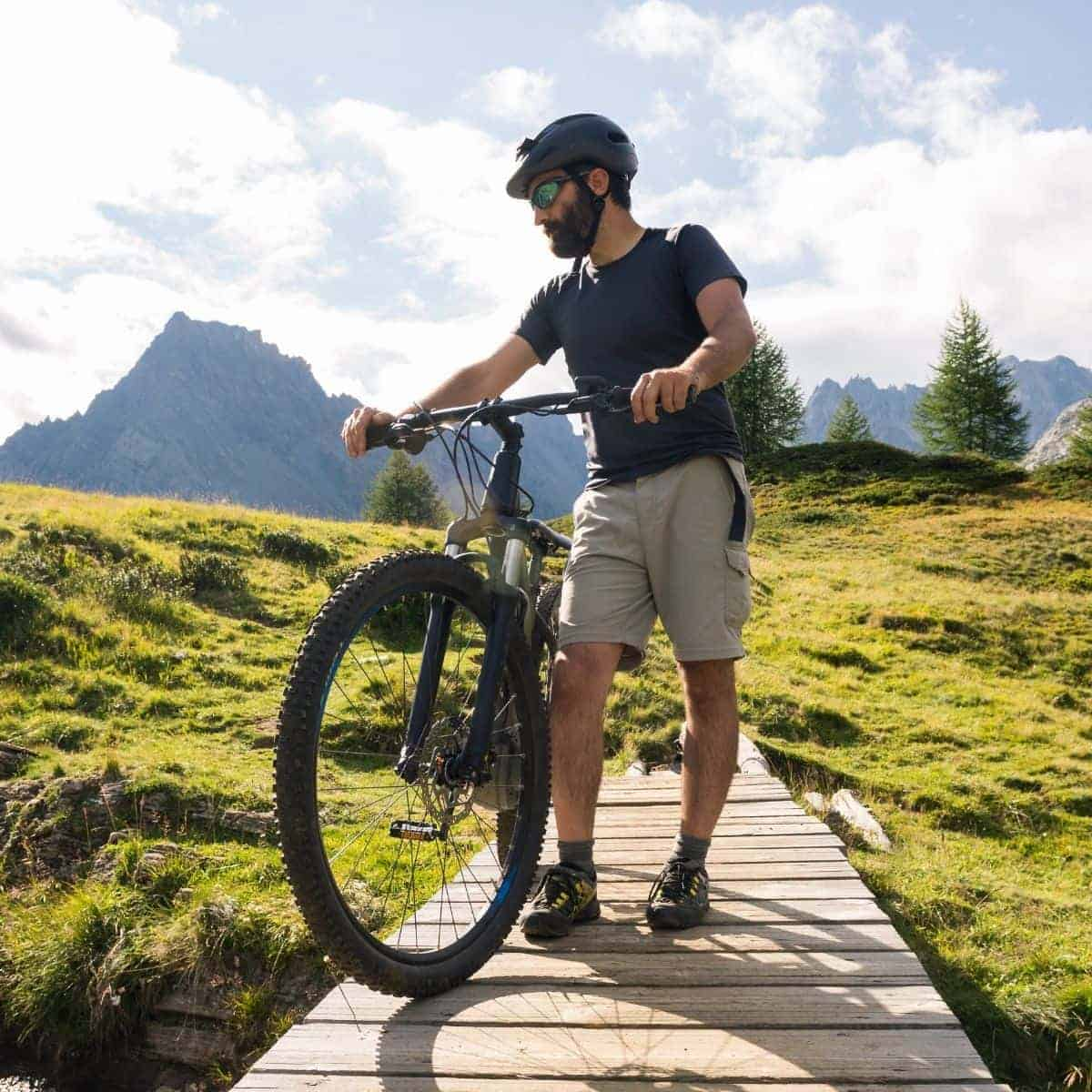 Cyclist holding a bike on a boardwalk with mountains in the background.