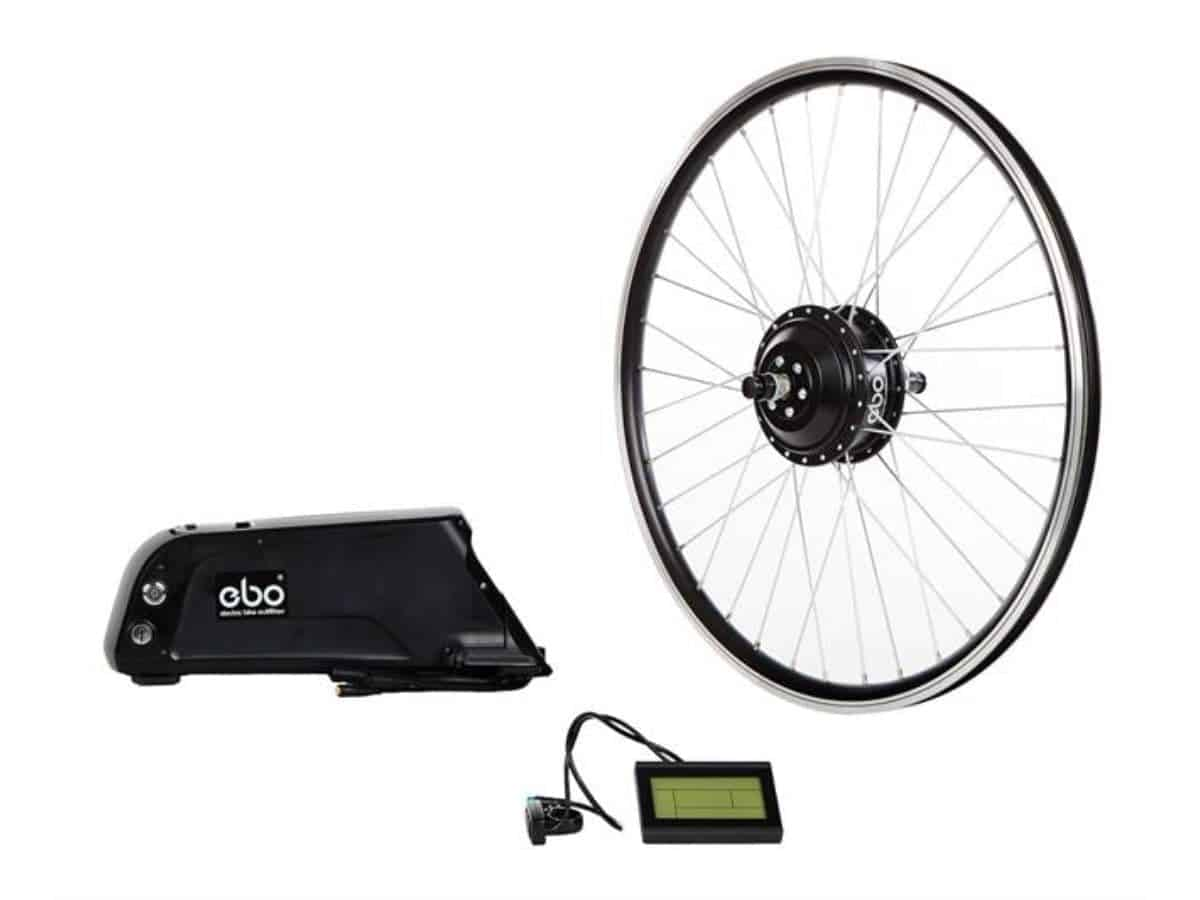 Electric Bike Outfitters conversion kit pieces.