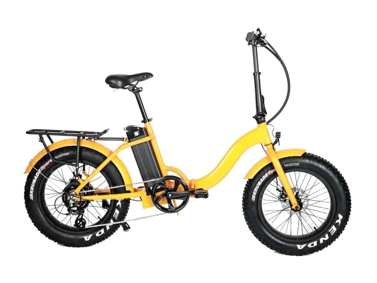 Yellow foldable fat tire electric bike with a step-through frame.
