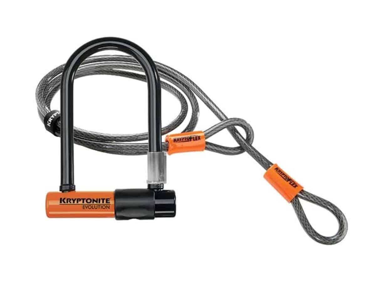 Kryptonite bike U-lock with cable.