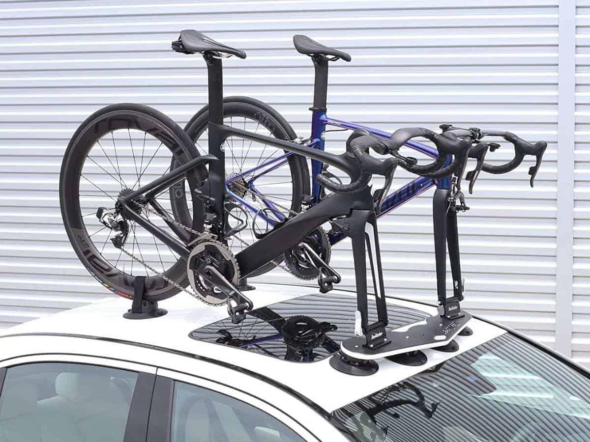 Two bikes on a SeaSucker roof-mounted rack.
