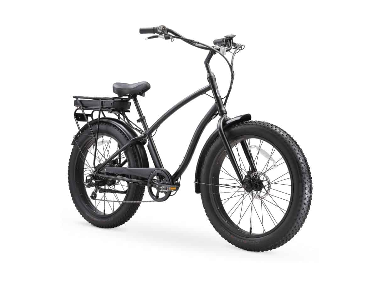 Black fat tire electric bike with a slim frame.