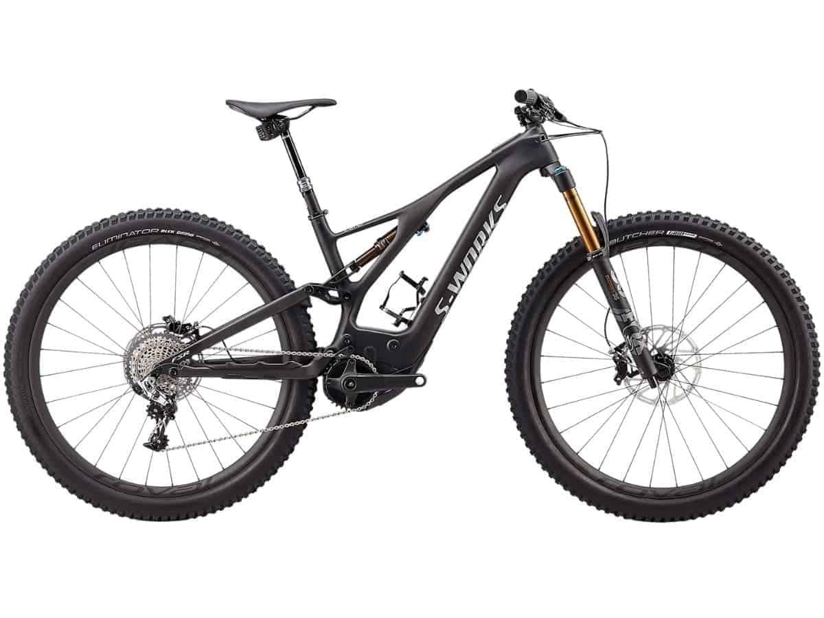 Side of a Specialized S-Works Turbo Levo electric mountain bike.