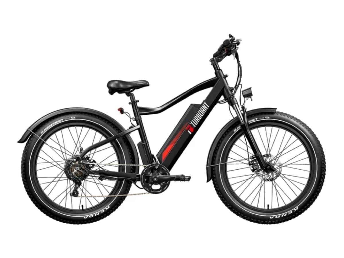 Side view of a Turboant fat tire electric bike.