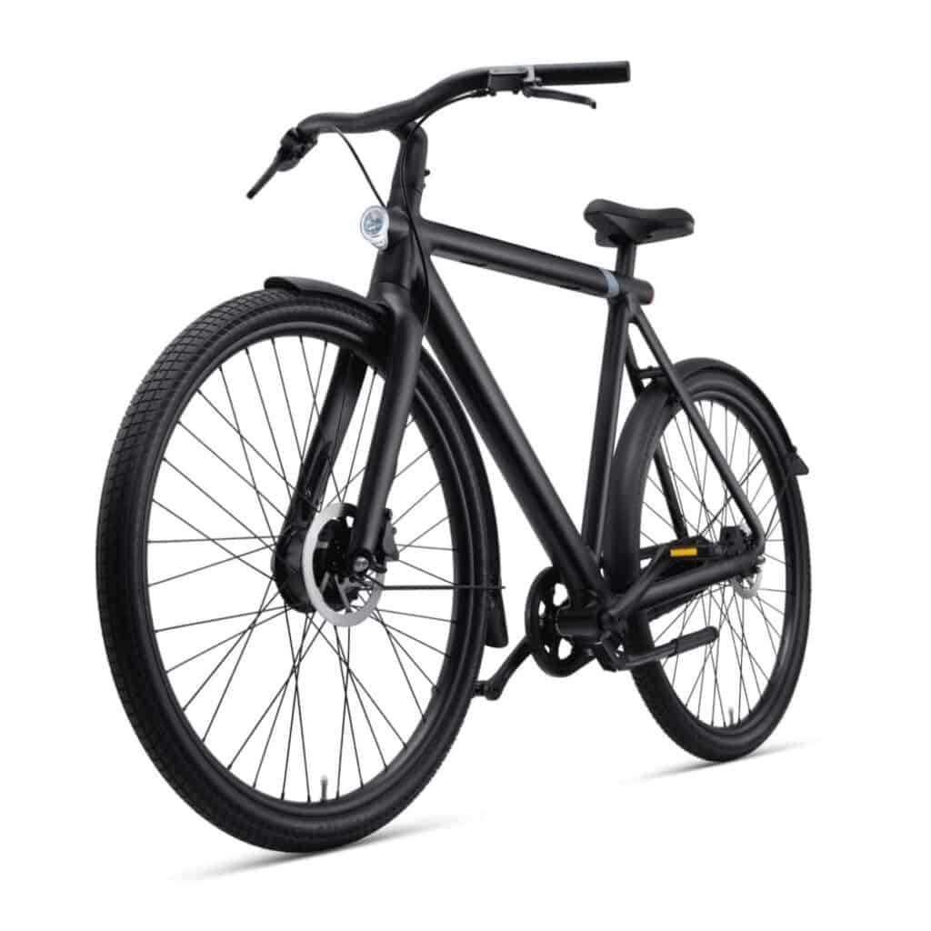 Front angle of a VanMoof S3 electric bike.