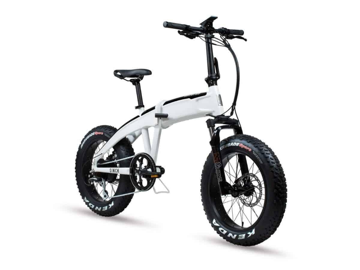 White Aventon Sinch folding electric bike.