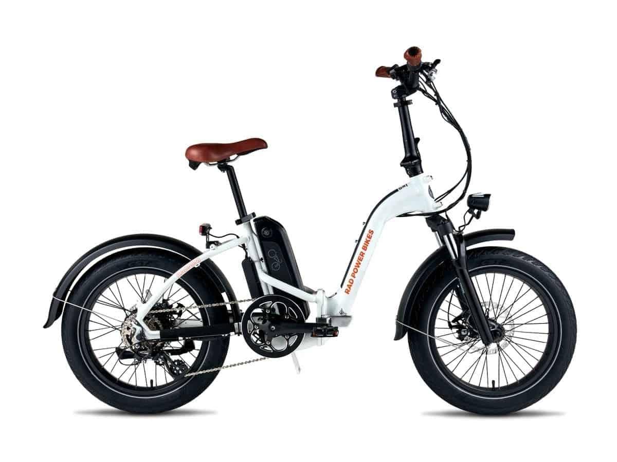 White RadMini step-through folding electric bike.
